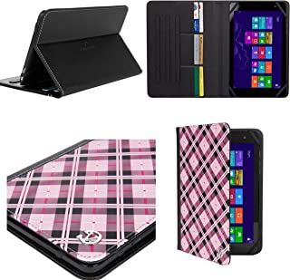 Vangoddy Barnes and Nobles Nook 7 Tablet 7 inch Slim Leather Book Style Cover Case Credit Card Holder, Pink Checker