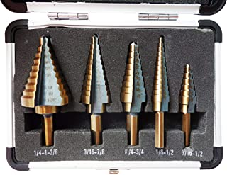 Sirius&Co Step Drill 5pcs Hss Cobalt Multiple Hole 50 Sizes Step Drill Bit Set with Aluminum Case
