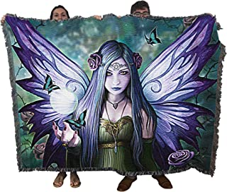 Pure Country Weavers Fairy Butterfly Witch Woven Blanket, Mystic Aura Fantasy Magical Design by Anne Stokes Large Soft Cotton Throw Made in USA 72x54