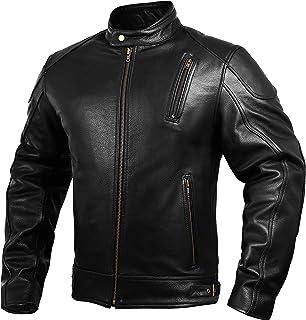 Mens Leather Motorcycle Jackets Black Moto Riding Motorbike Racing Cafe Racer Biker Jacket CE Armored (5XL)