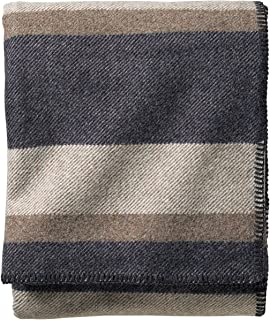 Pendleton - Eco-Wise Washable Wool Blanket, Midnight Navy Stripe, Queen