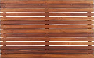 Nordic Style Teak Shower and Bath Mat - Heavy-Duty and Dark-Oiled for Indoor and Outdoor Use - Non-Slip Wooden Platform for Sauna, Pool, Hot Tub - Natural 31.4 x 19.6-Inch Flooring Decor and Protector