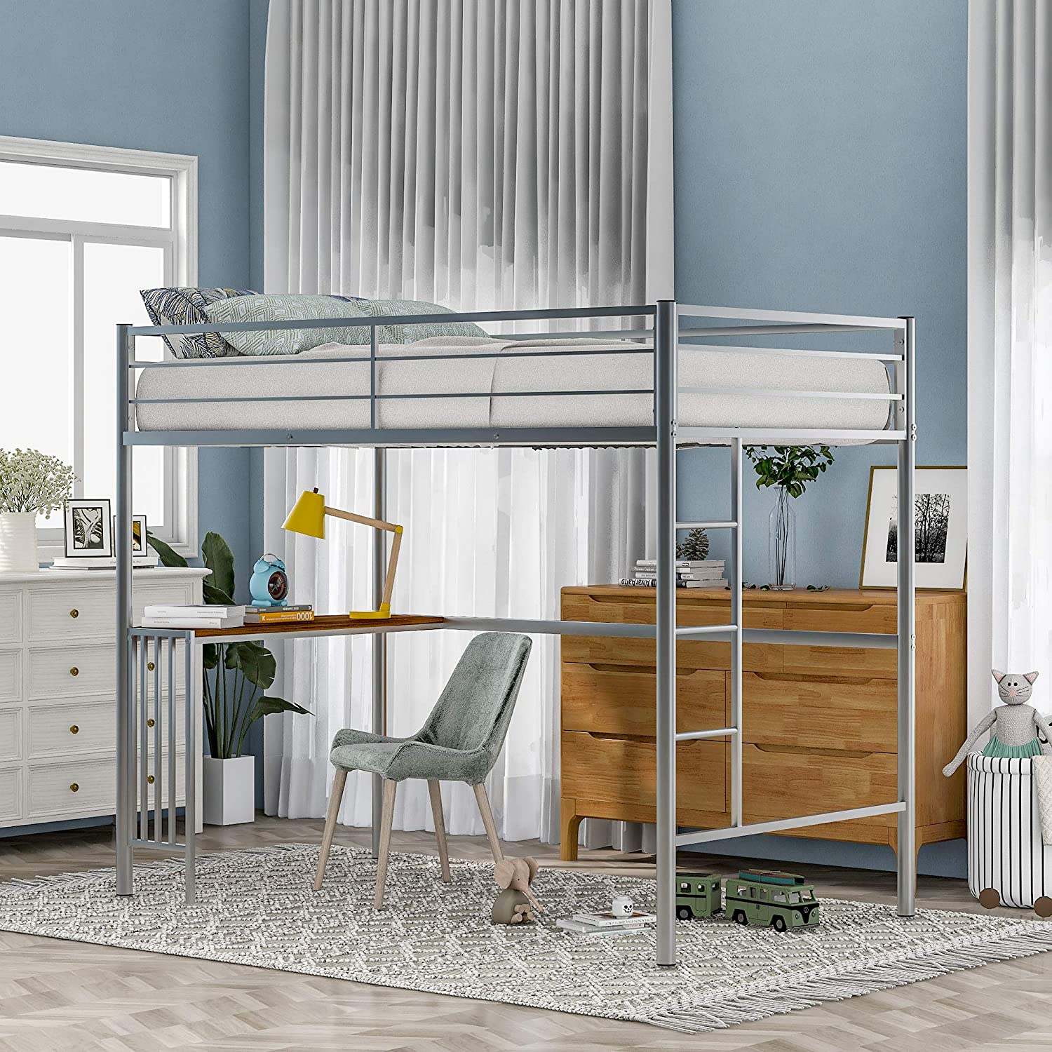 Twin Tulsa Mall Metal Bunk Bed with and Ladder Size Desk Guardrails El Paso Mall