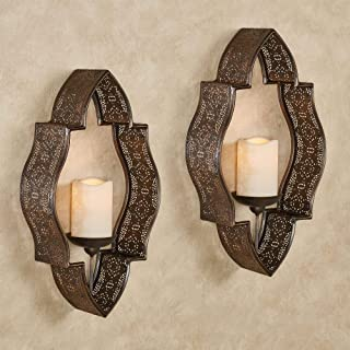 Touch of Class Nico Hurricane Handcrafted Scrolling Metal Wall Sconce Handpainted Antique Gold 4.5 Wx5 Dx24 H Pair