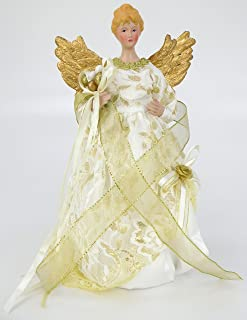 Christmas Concepts 12 Inch Beautiful Tree Top Angel with Stunning Cream & Gold Design Dress & Gold Wings