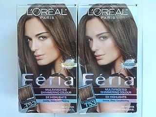 L'Oreal Paris Feria Multi-Faceted Shimmering Color, Cool Medium Brown [T53] 1 ea (Pack of 2)