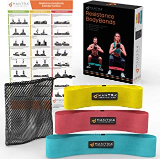 Resistance Booty Loop Bands - Butt Lifter Exercise Band in Elastic, Non Slip Fabric - Perfect for Stretching, Fitness, Weight Loss & Physical Therapy - Set of 3 with Carry Bag & Workout Guide Poster