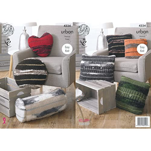 Easy Knit Knitting Pattern Round Square Tube Heart Cushions King Cole Urban 4334