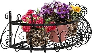 MyGift Black Metal Scrollwork Design Wall Mounted Flower Plant Shelf Display/Decorative Window Boxes Planters