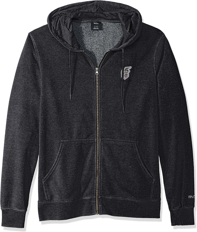 RVCA Mens Foxhole Zip Up Hooded Fleece Sweatshirt Hooded Sweatshirt