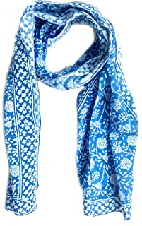 Scarfs for women hand block printed indian traditional design 70x20 inch mini stall for girls 100% Pure cotton