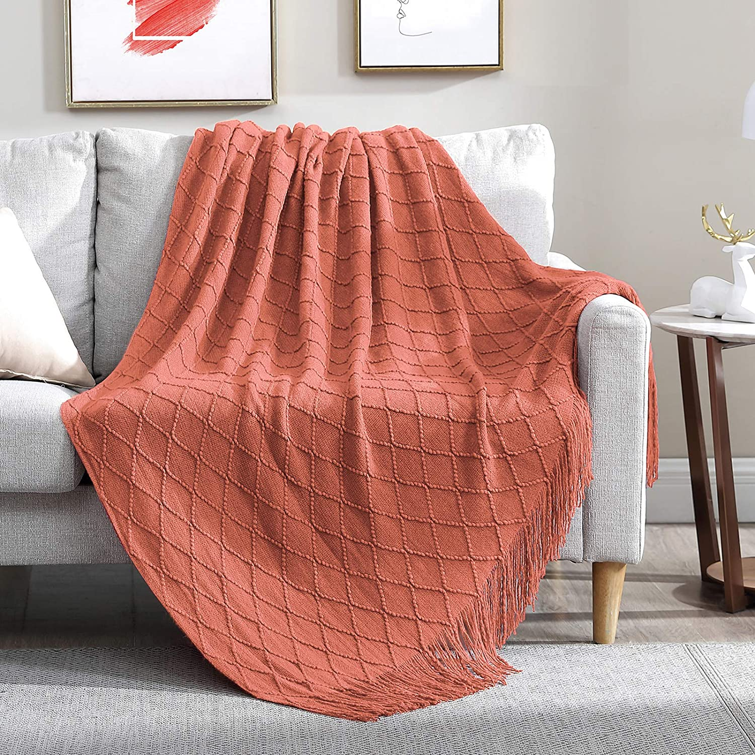 Walensee Throw Blanket for Couch, 50 x 60 Coral, Acrylic Knit Woven Summer Blanket, Lightweight Decorative Soft Nap Throw with Tassel for Chair Bed Sofa Travel Picnic, Suitable for All Seasons