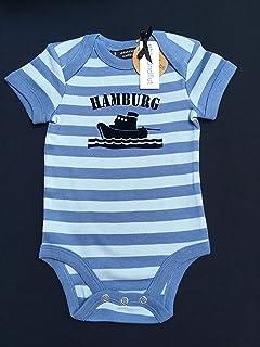 ebbeundflut Baby Body Schlepper Hamburg blau/grau gestreift - fair - maritimer Babystrampler von ebbeundflut