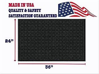 Large Front Doormat - Waterproof Indoor Outdoor Rug MADE IN USA Absorbent Non Slip Carpet Mat -Washable Entryway Doormat -24 x 36 Black Low Profile Entrance Doormat