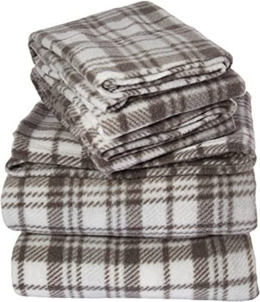 True North by Sleep Philosophy Micro Fleece Grey Plaid Sheet Set,  Causal Bed Sheets Full,  Bed Sheets Set 4-Piece Include Flat Sheet,  Fitted Sheet & 2 Pillowcases