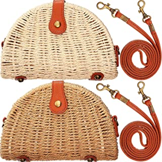 Crossbody Straw Bag Women Rattan Woven Handbag Handmade Semi Circle Bag Straw Shoulder Bag for Beach Travel, Beige and Light Brown