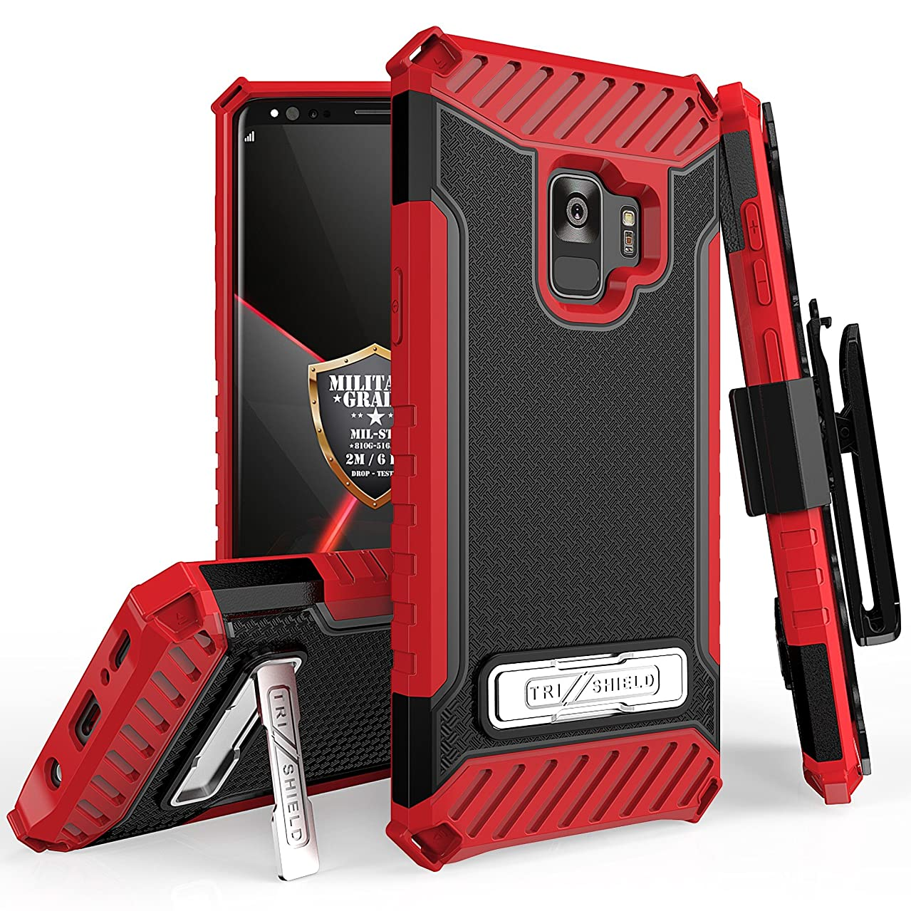 Galaxy S9 Plus / Galaxy S9+ Case Phone Case 360° Cover Screen Protector Clip Holster Kick stand Armor Layers Grip Sides Shock Bumper for Samsung S9+ (Black Red)