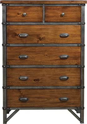 Benjara Wooden Chest with Studded Nailheads and 6 Spacious Drawers, Brown