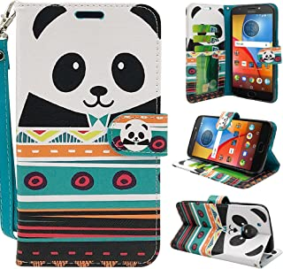 Moto E4 Plus Case, Customerfirst [Wrist Strap] Luxury PU Leather Wallet Flip Protective Case Cover with Card Slots and Stand for Motorola Moto E Plus (4th Generation) (Panda)