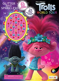 Dreamworks Trolls World Tour 48-Page Coloring and Activity book with Jewel Stickers 47359, Bendon