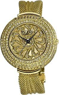 Burgi Flower Applique Dial On Genuine Crystals Display Women's Watch - Unique Design Stainless Steel Mesh Bracelet - BUR051