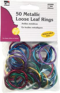 "Charles Leonard Loose Leaf Rings, 1"" Diameter, Metallic Assorted Colors, 50 per Bag, 1 Bag (85000)"