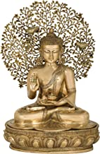 Fine Lord Buddha Preaching Against The Backdrop of Bodhi Tree - Tibetan Buddhist - Brass Statue