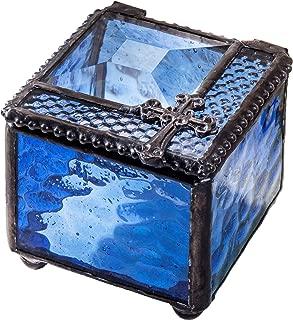 Small Blue Glass Box First Communion Gift Catholic Rosary Case Religious Keepsake Jewelry Ring Prayer Christian J Devlin Box 349-2