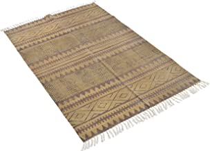 "Jaipur RugHauz Handmade Block Printed Cotton Area Rug - 71.37"" x 47.19"" x 1.56"", Brown"