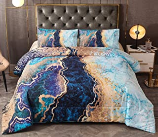 A Nice Night Marble Like Burning Mountain Printed Bedding Set,Retro Style Watercolor Artwork Design,Ultra Soft Comforter S...