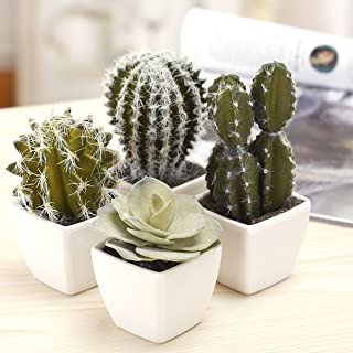 MyGift 5-Inch Mini Assorted Artificial Cactus Plants, Faux Cacti Assortment in White Ceramic Pots, Set of 4