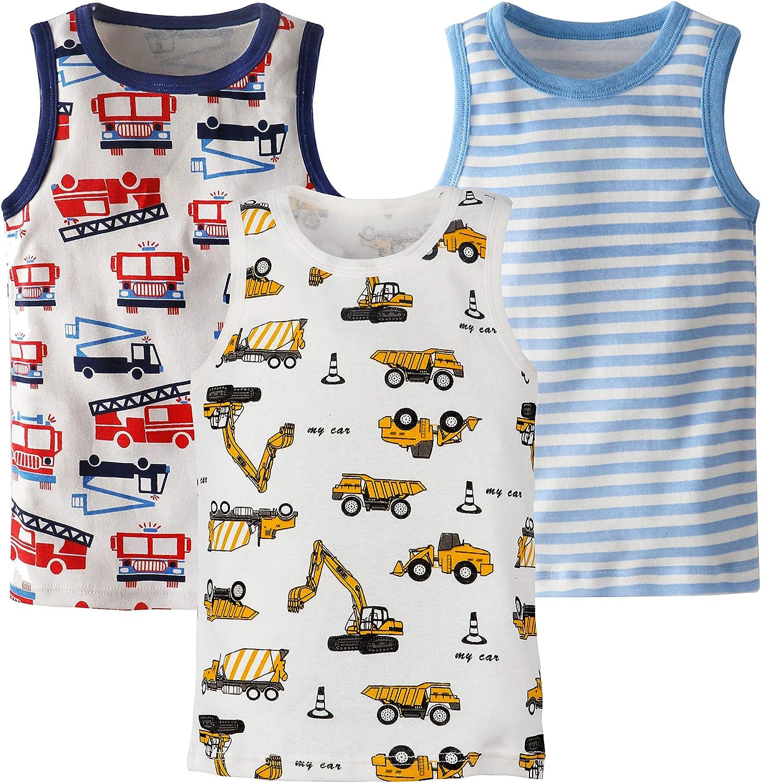 Huaer) Toddler Boys' 2-3 Pack Tank Tops (White/Stripe, 5T)