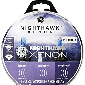 GE Lighting H1-55 NHX/BP2 Nighthawk Xenon Halogen Automotive Replacement Bulbs, 2-Pack