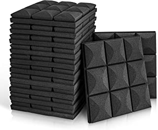 "Fstop Labs 12 Pack Set 2"" X 12"" X 12"" Acoustic Foam Panels, Soundproof Sound Insulation Absorbing, 9 Block Mushroom Design"