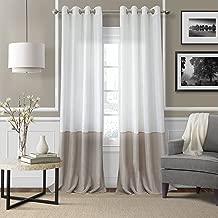 "Elrene Home Fashions 026865876345 Colorblocked Grommet Sheer Single Panel Window Curtain Drape, 52"" x 84"", Ivory"