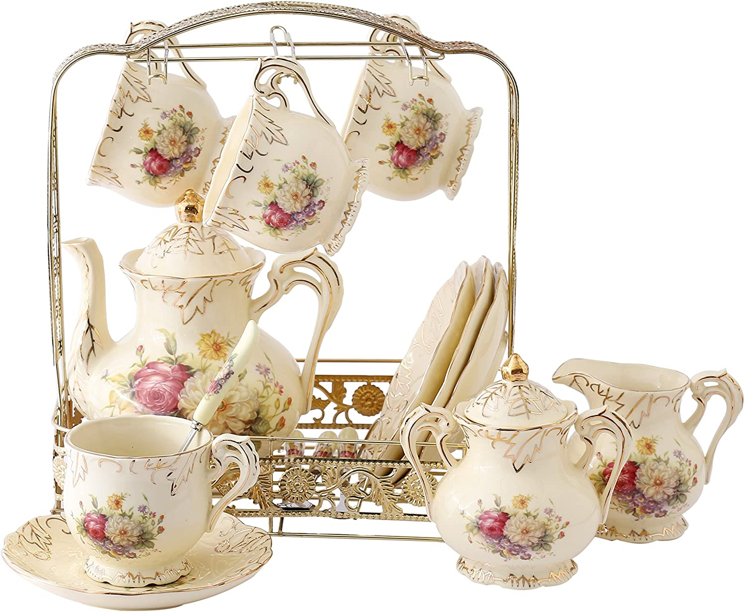 ufengke 11 Piece Creative European Tea NEW before selling ☆ Porcela Limited Special Price Luxury Ivory Set