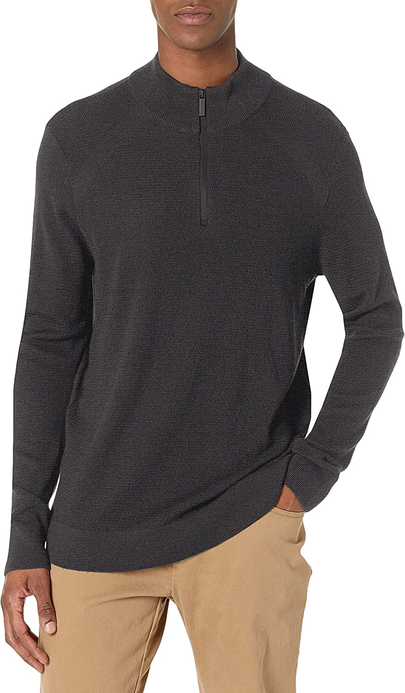 Perry Ellis Men's Motion Big & Tall Textured Merino Blend Quarter Zip Sweater