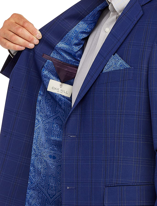 Oak Hill by DXL Big and Tall Windownpane Sport Coat-Executive Cut, Blue
