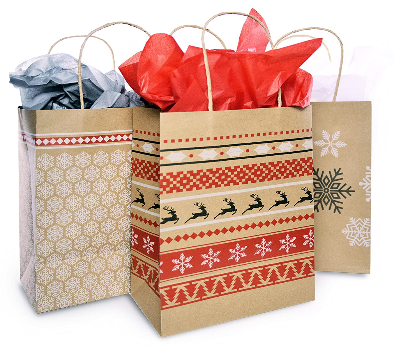 Christmas Gift Bag Set with Tissue Paper Included | Red & White Nordic Print Gift Bag | Paper Kraft Bags In 3 Assorted Holiday Designs With Matching Tissue Paper | Xmas Fair Isle Bulk Packaging (12)
