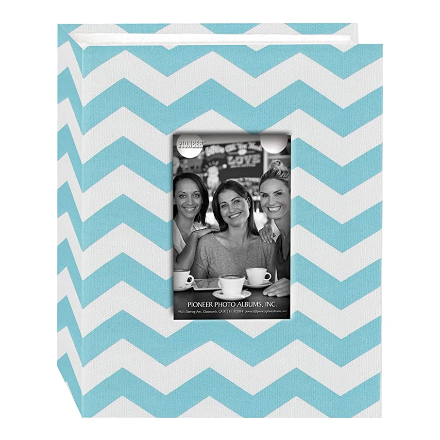 Pioneer Photo Albums CHEV-100 Chevron Fabric Frame Photo Album with 100 Pockets Hold, 4 x 6, Aqua/White