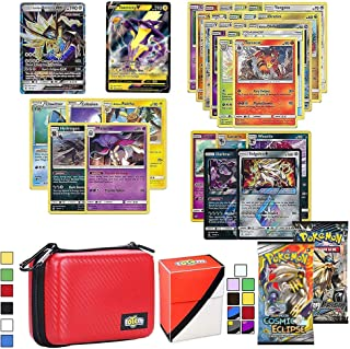 Totem World Pokemon Cards V & GX Lot with Card Carrying Case, 1 Pokemon V & GX Card Guaranteed, Plus 1 Card Holder, 2 Booster Packs, 5 Rares, 5 Holos, 20 Regular Pokemon Cards, and 1 Deck Box