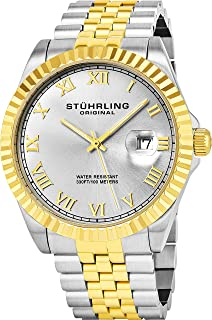 Stuhrling Original Men's 599G.04 Analog Swiss Quartz Two-Tone Link Bracelet Watch