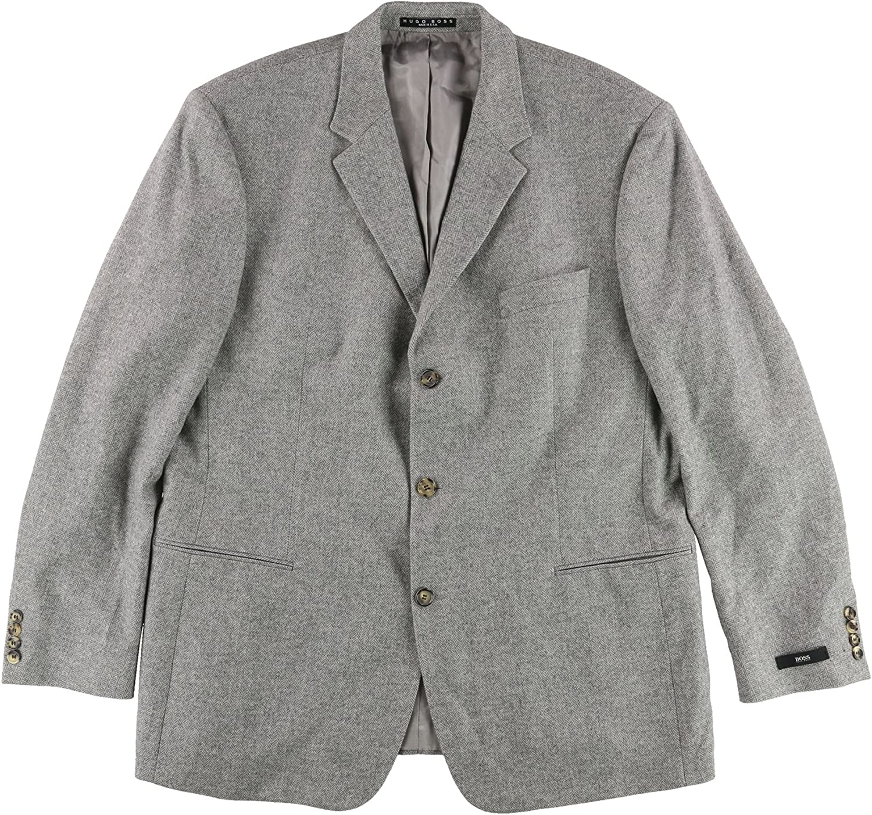 Hugo Boss Mens Windowpane Two Button Blazer Jacket, Grey, 48 Regular