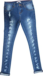 Teen G's Jeans and Twill for Girls Skinny Jeans for Girls with Ripped Denim and Distressed Stretch Fabric Slim Fit Pants,kp33