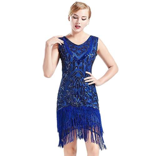 BABEYOND 1920s Flapper Dress Long Fringed Gatsby Dress Roaring 20s Sequins  Beaded Dress Vintage Art Deco 2afd1eda9