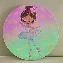 نمط حديث زخرفي، لوحة قماشية على شكل دائرة 30 سم، مرسومة باليد، لوحة جدارية لفتاة وردية مناسبة لغرفة الأطفال، غرفة النوم، غ...