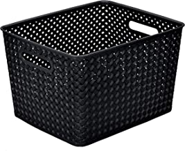 Simplify Large Resin Wicker Bin in Black Storage Basket, Medium