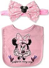 Disney Baby Girls Character Headband and Bib Set, Pink Minnie, 0-12 Months