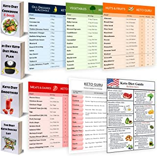 Keto Diet Guide Pack | Keto Cheat Sheet Fridge Magnets for Beginners | Ketogenic Diet for Weight loss | Keto Cookbook and Recipes | Keto Diet 60 Food Macros by KETO GURU