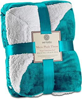 Genteele Sherpa Throw Blanket Super Soft Reversible Ultra Luxurious Plush Blanket (50 inches X 60 inches, Teal)